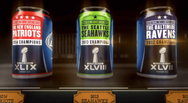 Budlight customized cans with the logos of every NFL team that won a Super Bowl