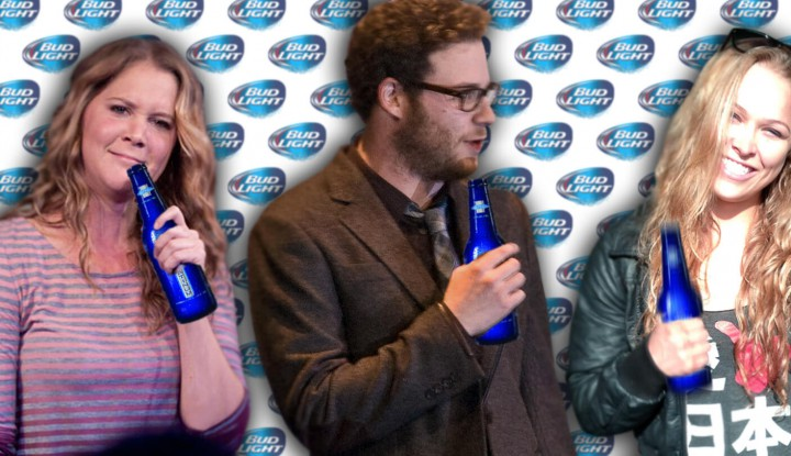 Amy schumer ronda rousey and seth rogen bud light ad bud light super bowl commercial 2016 seth rogan mozeypictures Images
